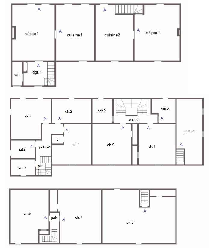 Floor plan Roncey House with gite and pool